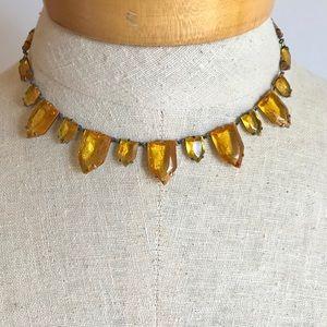Art Deco Necklace Honey Amber Czech Glass Antique